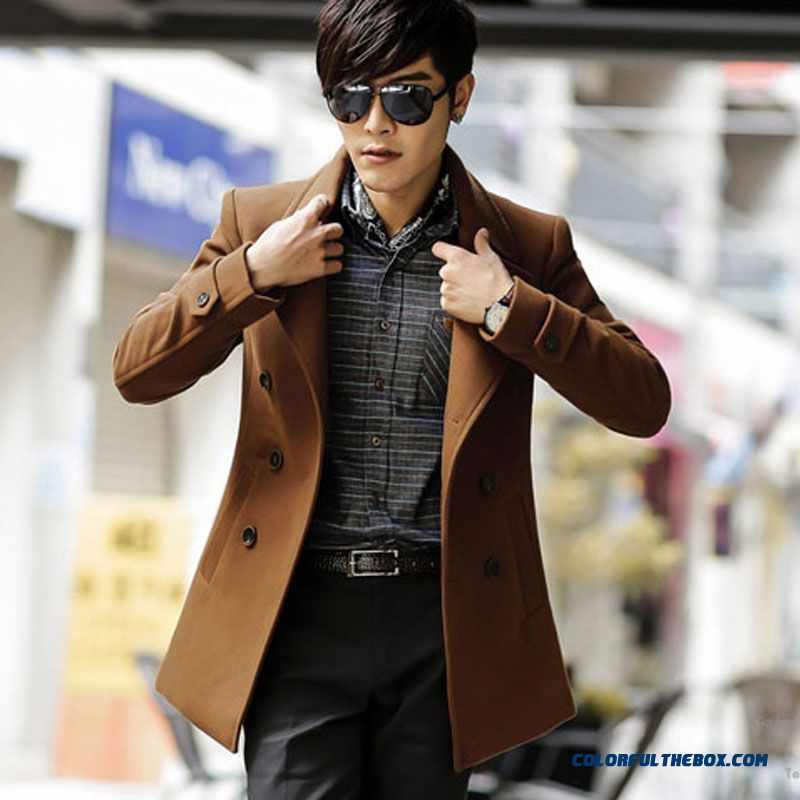 New Autumn And Winter Long Men Woolen Coat Coffee Wine Red Black Free Shipping