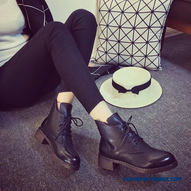 New Autumn And Winter Martin Boots Round-toe And Middle-heels Thick Heels Black