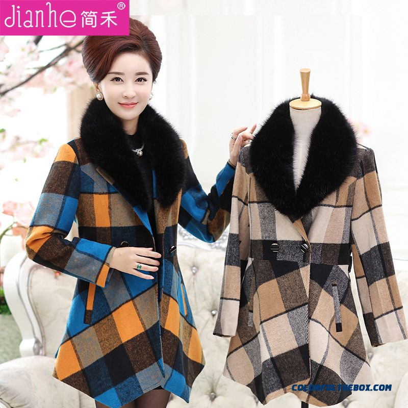 New Autumn And Winter Medium Style Middle-aged Women's Wool Coat