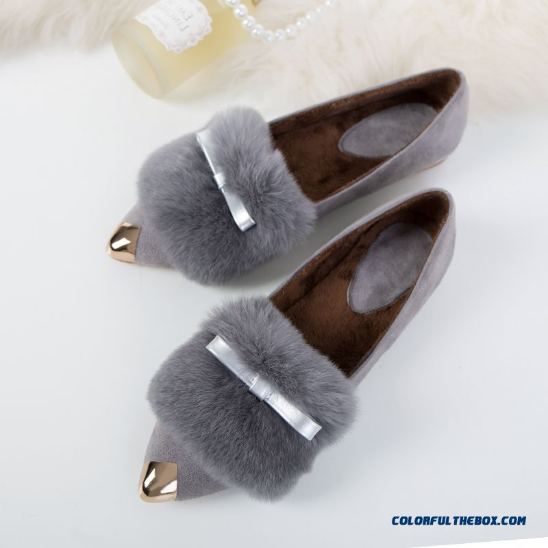 New Autumn And Winter Plus Velvet Pointed Square Buckle Rabbit Fur Warm Simple Women Flat Shoes