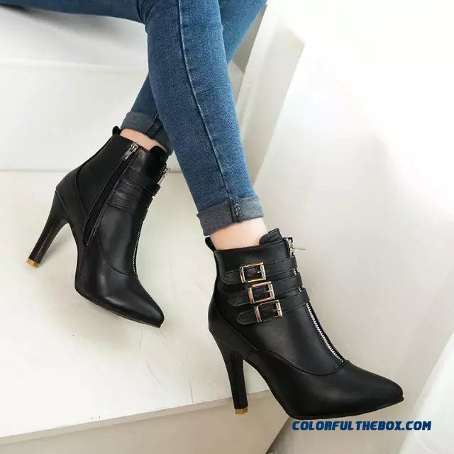 New Autumn And Winter Pointed High-heeled Fine Heel Women Shoes Boots