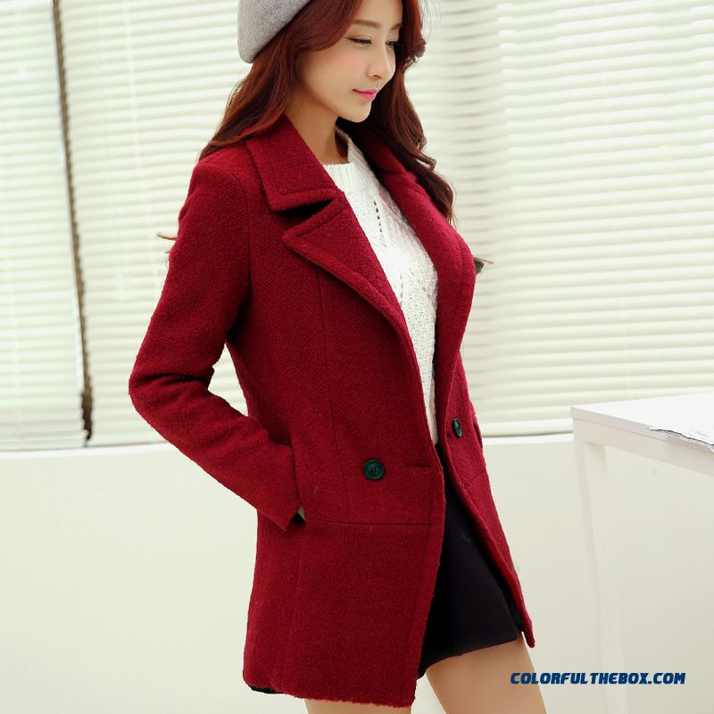 New Autumn And Winter Solid Color Medium Style Double-breasted Suit Collar Thick Women Woolen Coat