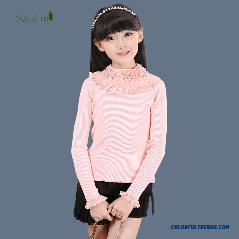 New Autumn And Winter Warm Long-sleeved Sweater Big Kids High Collar Sweater Special Offer For Girls