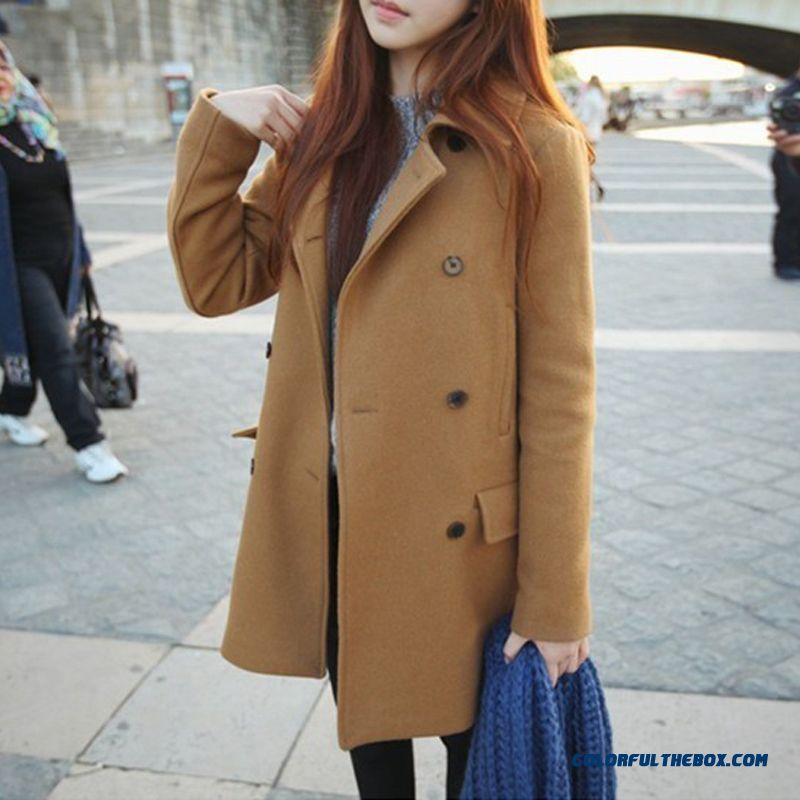 New Autumn And Winter Women Double-breasted Woolen Coats Solid Color Thin Casual Camel
