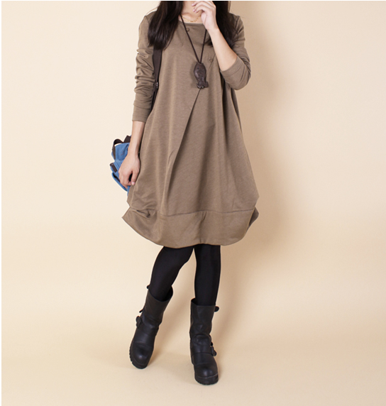 New Autumn And Winter Women Dress Frills Loose Casual Crew Neck Large Size