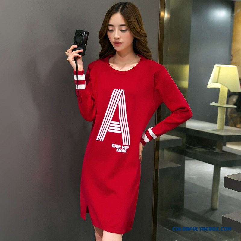 New Autumn And Winter Women Dress Loose Classic Letter Printing Long Sleeve