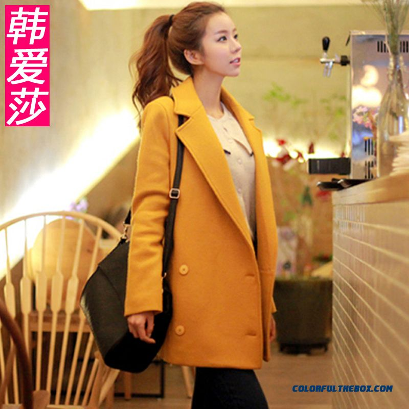New Autumn And Winter Women Medium Style Woolen Coats Large Size Red Yellow
