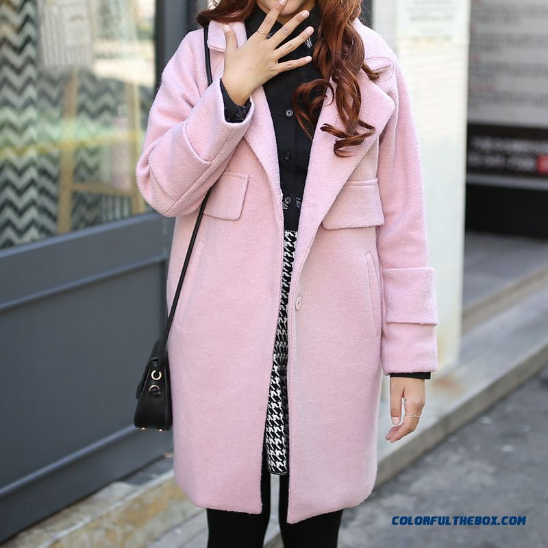 New Autumn And Winter Women Medium Style Woolen Coats Thicken Slim Pink Large Size