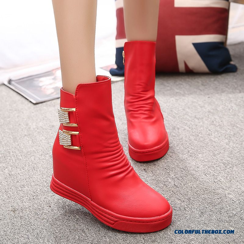 New Autumn And Winter Women Snow Half Boots Low-heeled Round Slim Fashion