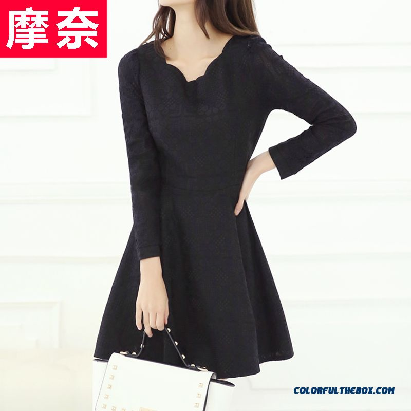 New Autumn And Winter Women's Large Size Long-sleeved Lace Dress Slim - more images 2