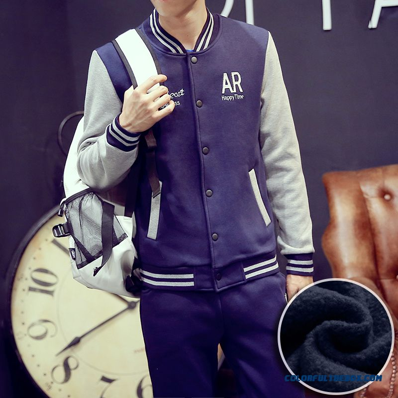 New Autumn Brand Fashion Men Coats Plus Velvet Baseball Sport Free Shipping