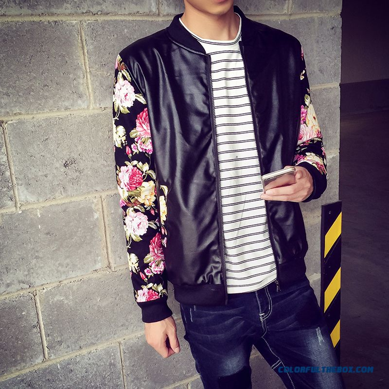 New Autumn Brand Fashion Men Floral Plus Thick Velvet Fertilizer Increase Code Leather Jacket