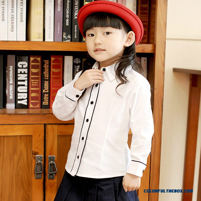 New Autumn College Style Long-sleeved Shirt Lapel Coat Girls Kids Cotton Shirt