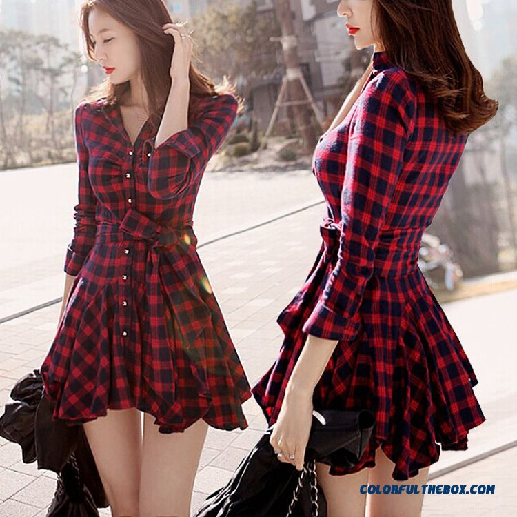 New Autumn Cotton Long-sleeved Plaid Large Size Women Pleated Elegant