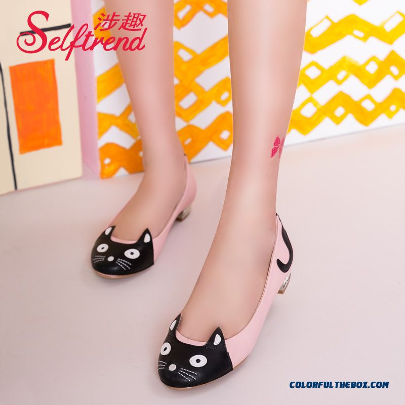 New Autumn Cute Little Kitty Spell Color Round-toe Shallow Mouth Women Flat Shoesuth Women Flat Sh