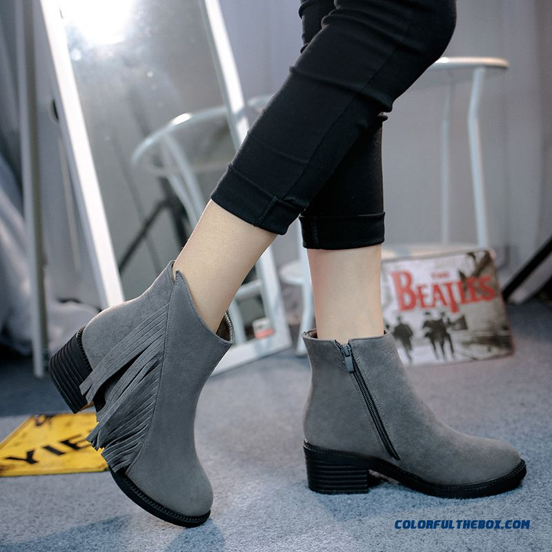 New Autumn Fashion Women's Shoes Nubuck Leather Tassels Thick Heel Martin Boots