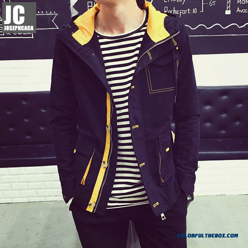 New Autumn High Quality Men Hooded Coats Hit Color Yelloe Black Wholesale