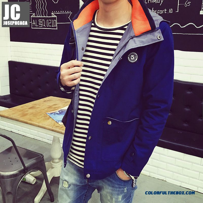 New Autumn High Quality Men Hooded Fashion Popular Blue Coats Free Shipping