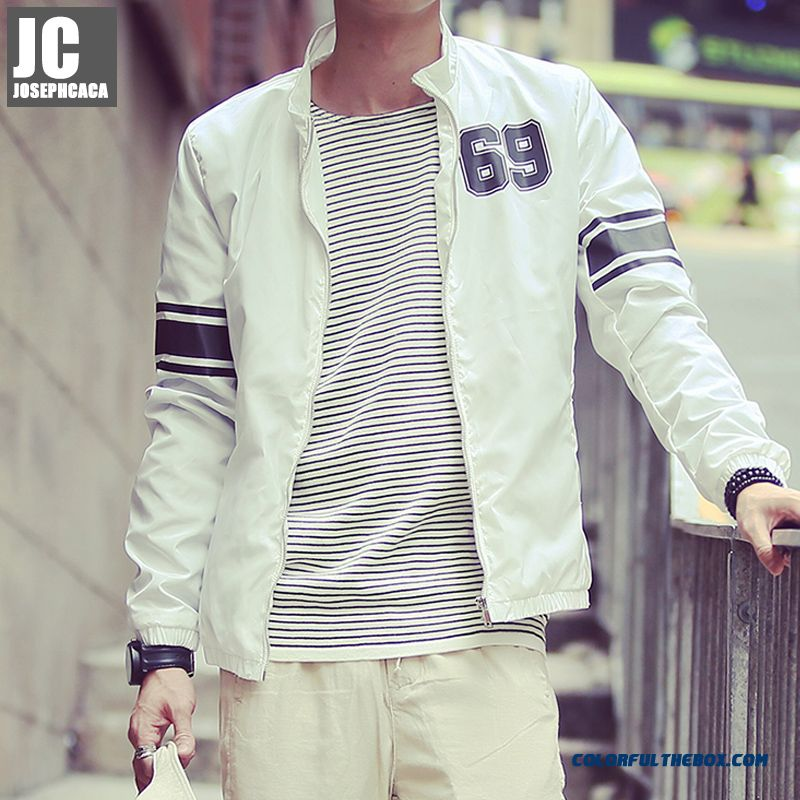 New Autumn High Quality Men Stand Collar Thin Slim White Luxury