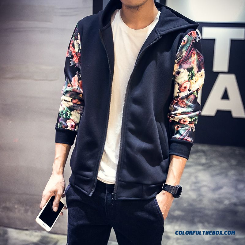 New Autumn Hooded Sweater Cardigan Coats Floral Black Hot Selling Free Shipping