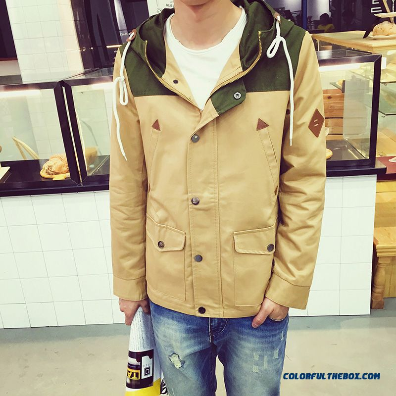 New Autumn Men's Casual Hooded Coat Jacket Hit The Color Stitching Red