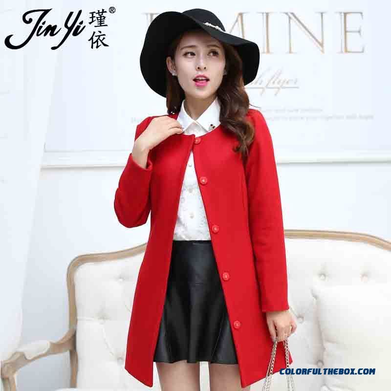 New Autumn New Women Medium Style Woolen Coats Slim Red Free Shipping