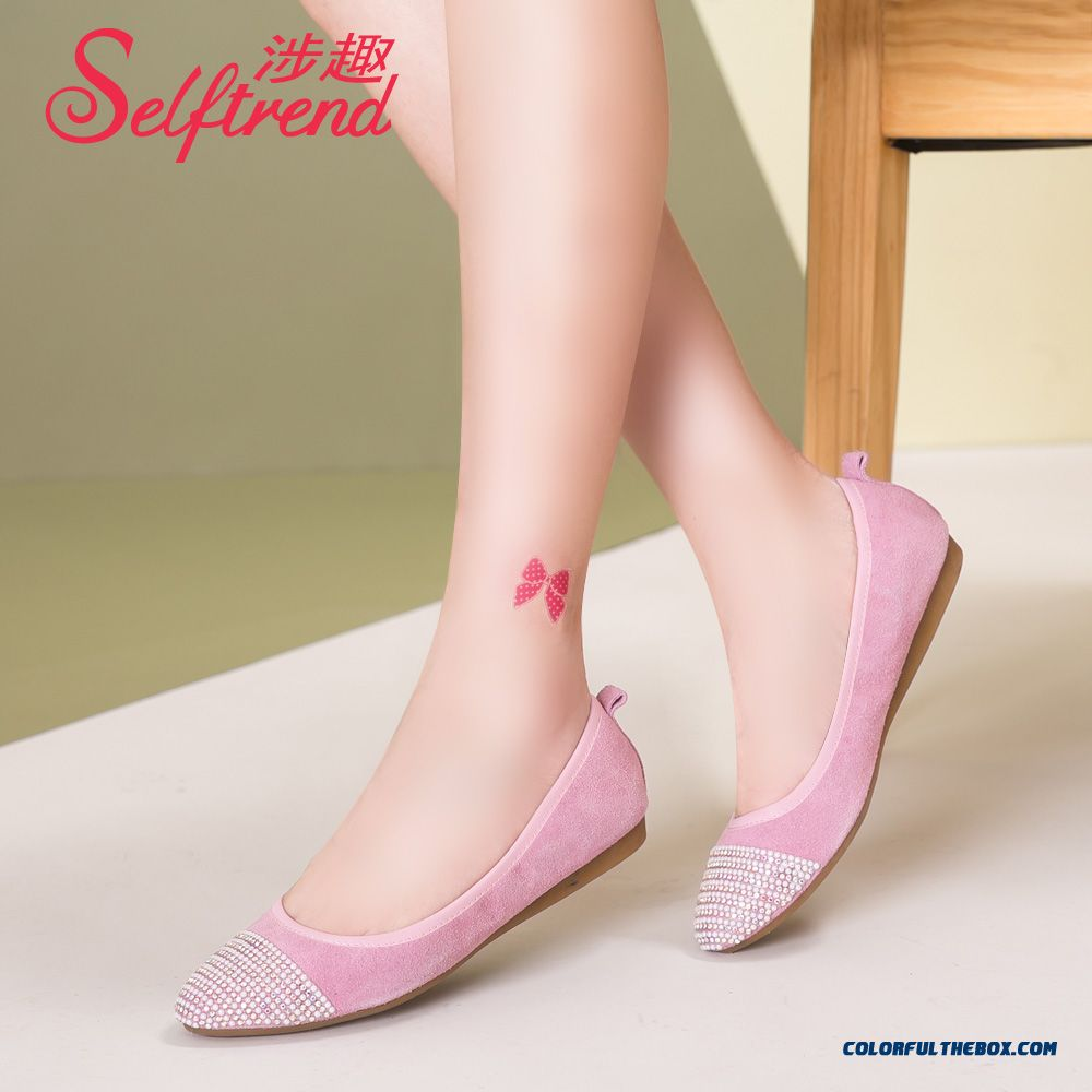 New Autumn Round-toe Folding Genuine Leather Soft Bottom Women Flat Shoes