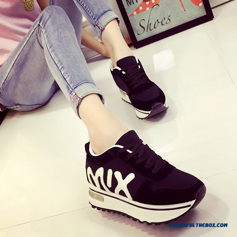New Autumn Sports Casual Shoes Spell Color Running Lace For Women