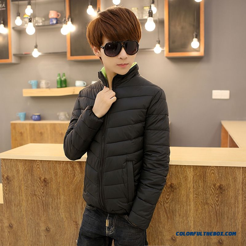 New Autumn Winter Cheap Men Stand Collar Black Cotton-padded Jacket Young