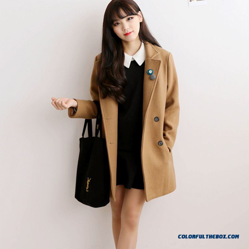 New Autumn Winter Grils Woolen Coats Light Tan Slim Plus Cotton Windbreaker