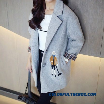 New Autumn Winter Grils Woolen Coats Plus Cotton Embroidery Cartoon Grey Tide