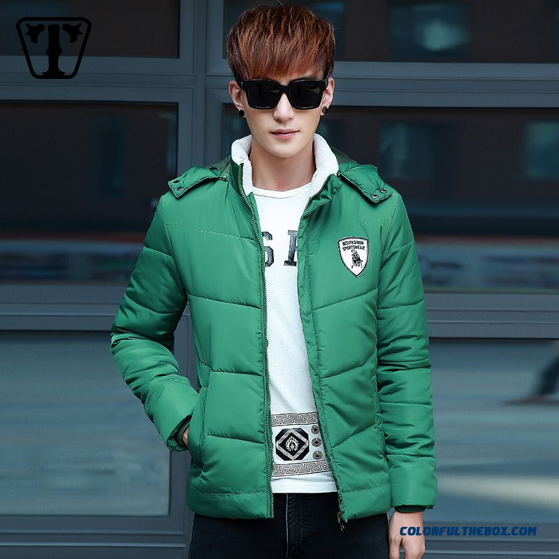 New Autumn Winter Hot Selling Green Short Thicken Slim Hooded Coats Tide