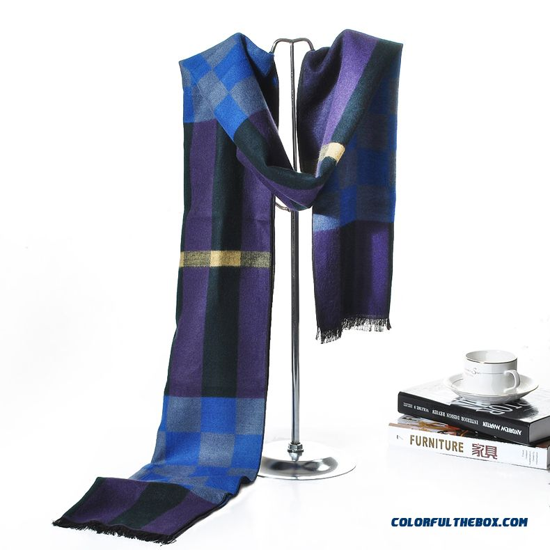 New Autumn & Winter Men's British Style Fringed Lattice Scarves Cotton About The Neck Scarves