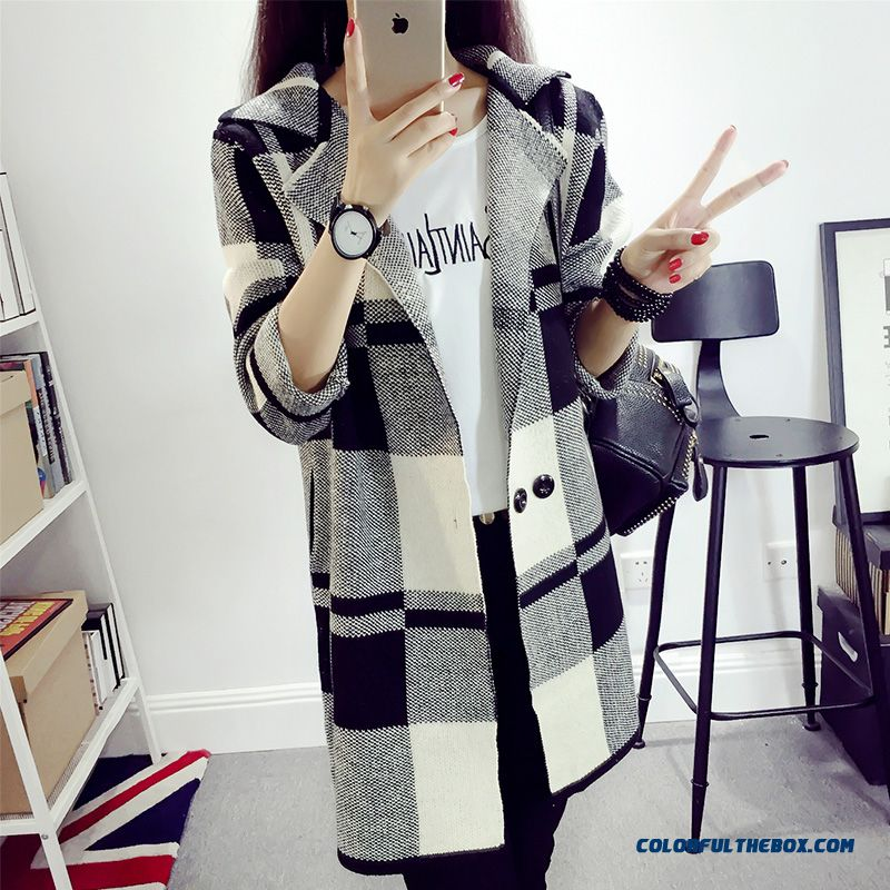 New Autumn Winter Women Clothing Sweater Long Lapel Cardigan Coat