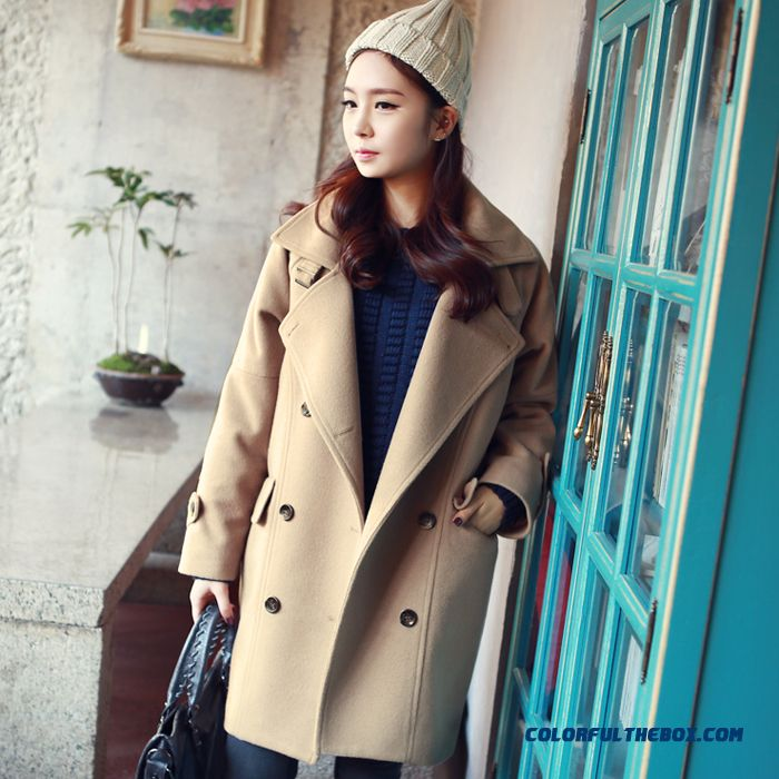 New Autumn Winter Women Woolen Coats Slim Light Tan Red Wine Lapel Large Size - more images 1