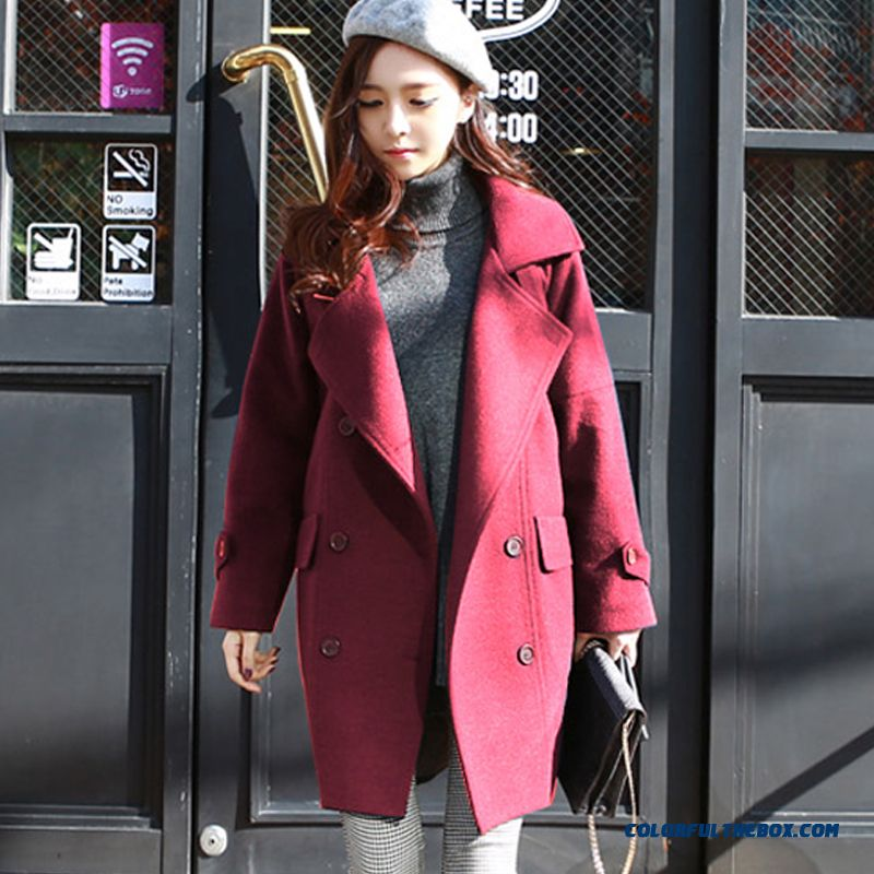 New Autumn Winter Women Woolen Coats Slim Light Tan Red Wine Lapel Large Size - more images 3