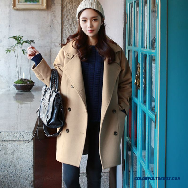 New Autumn Winter Women Woolen Coats Slim Light Tan Red Wine Lapel Large Size - more images 4