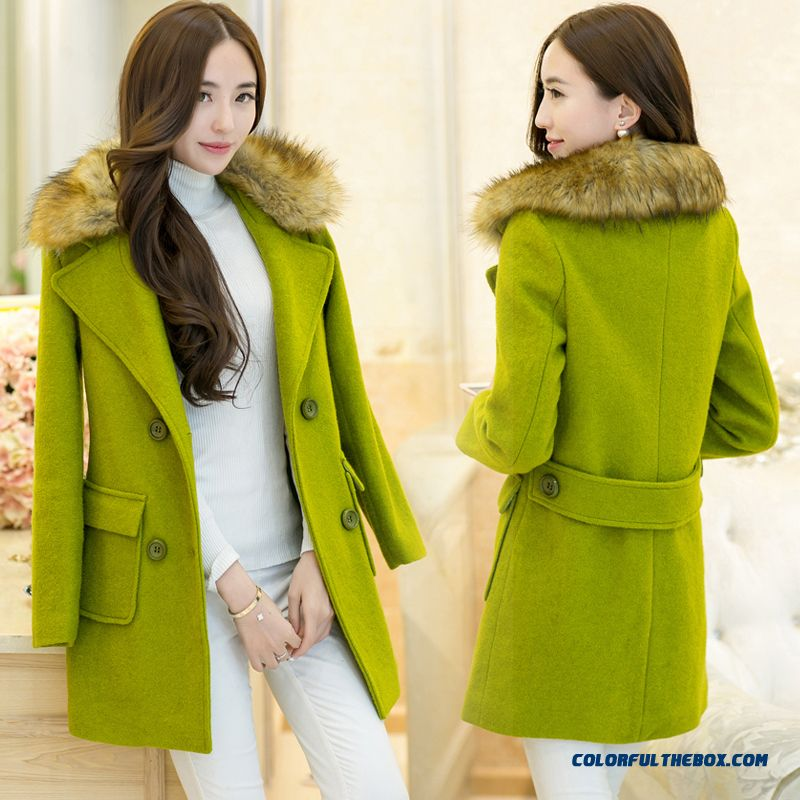 New Autumn Winter Women Woolen Fur Collar Coats Laege Size Green Thicken
