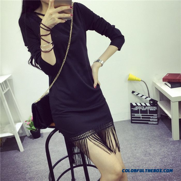 New Autumn Women Dress Black Long-sleeved Fringed Slim Fashion