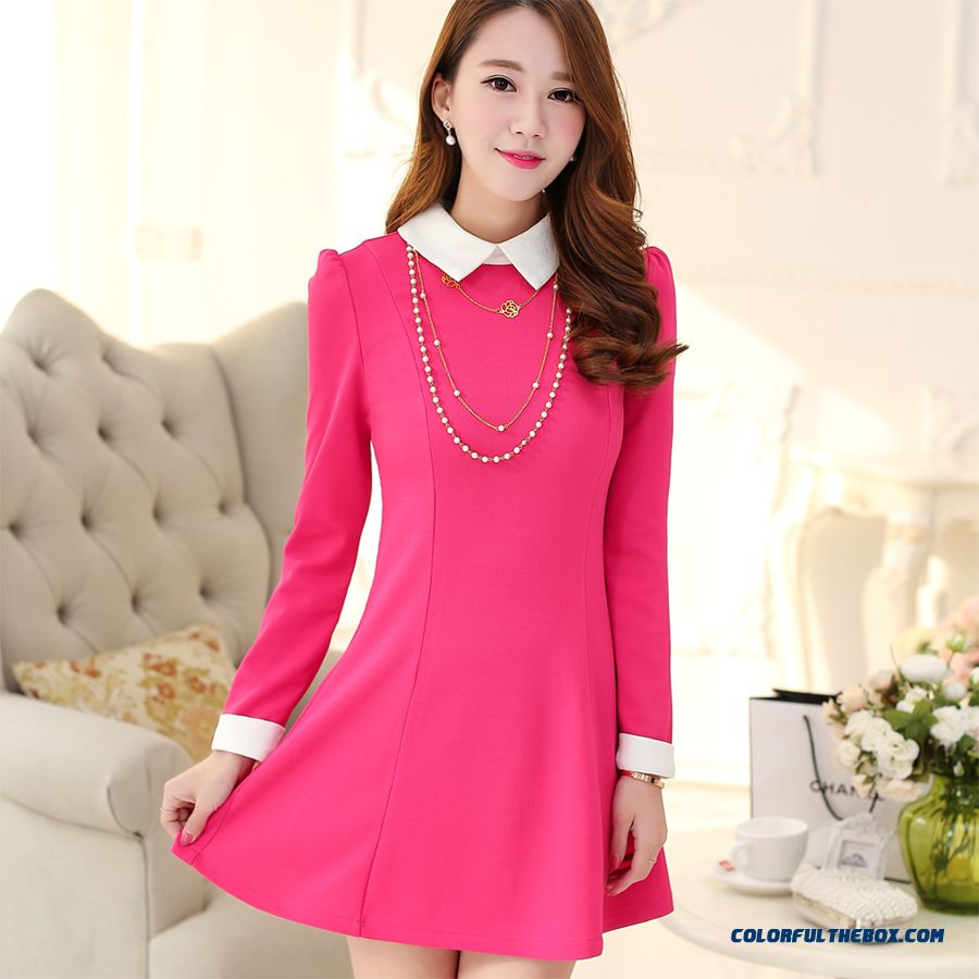 New Autumn Women Dress Long Sleeve Slim Sweet Elegant Mode