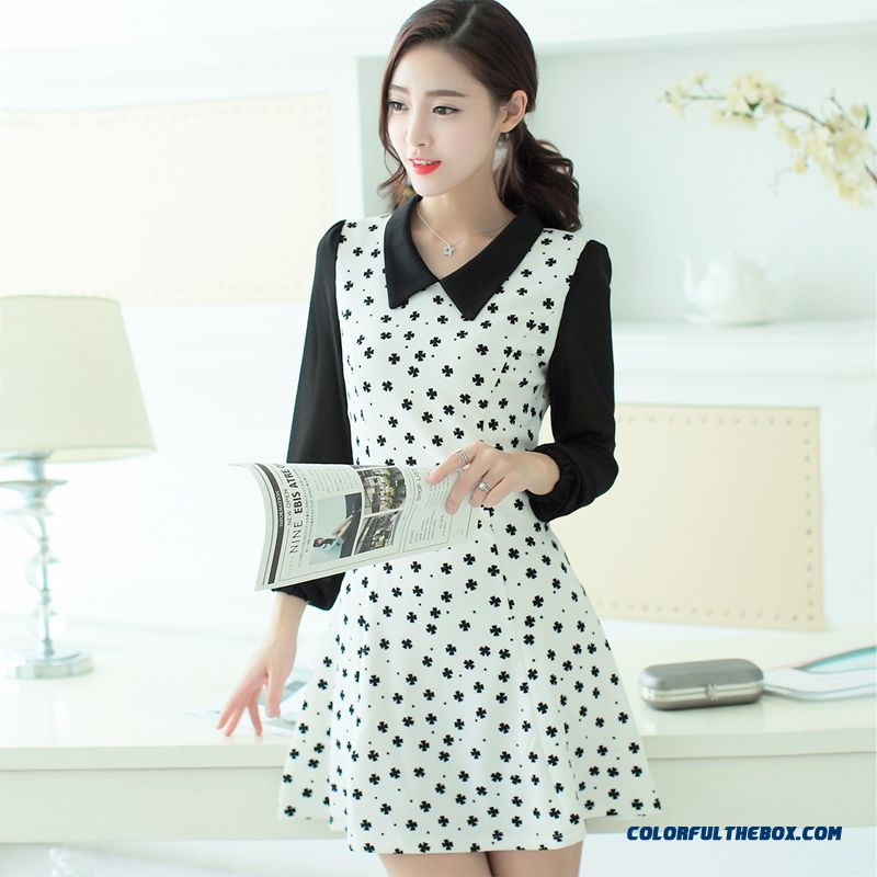 New Autumn Women Dress Long Sleeve Sweet Slim Popular In Europe And America - more images 4