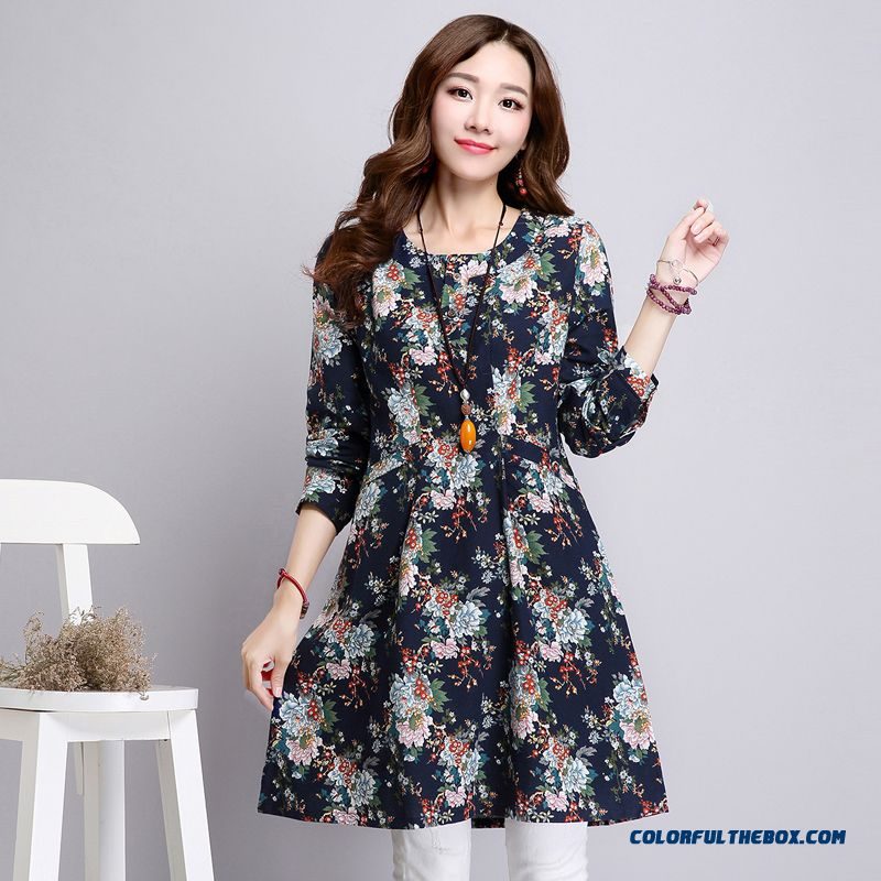 New Autumn Women Dress Loose Long Sleeve Large Size Linen Printing