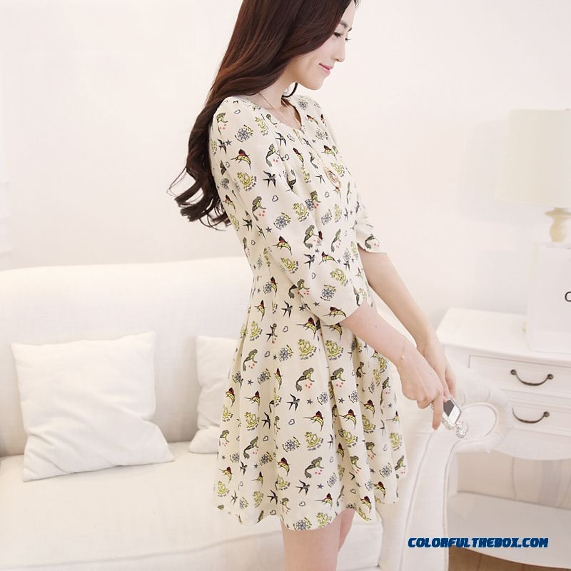New Autumn Women Dress Slim Printing Chiffon Large Size Elegant