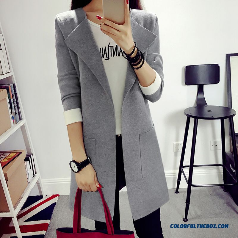 New Autumn Women Lady Clothing Sweater Cardigan Loose Coat Jacket Rose Red Black Pink