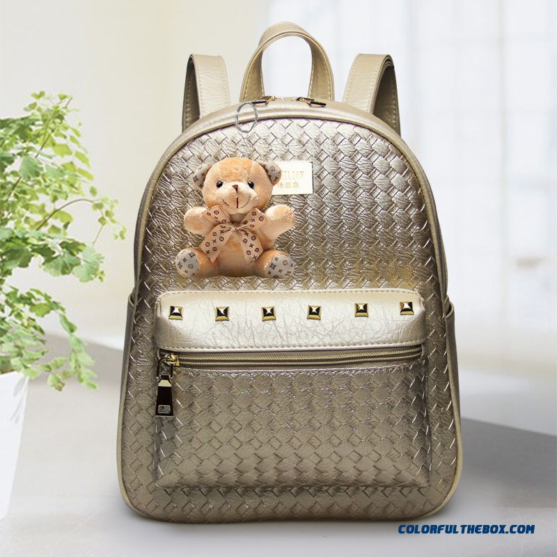New Backpack Woman Pu Braided Leather Backpack Woman Rivet Bag Bear Pendant
