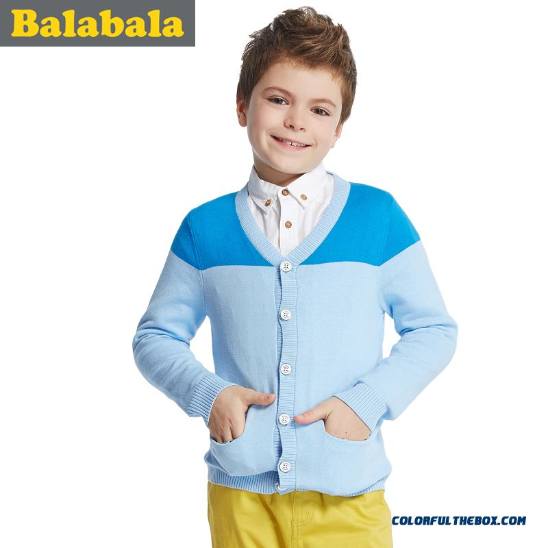 New Balabala Kids Clothing Boys Casual Sweater V-neck Cardigan Jacket Free Shipping Clothing