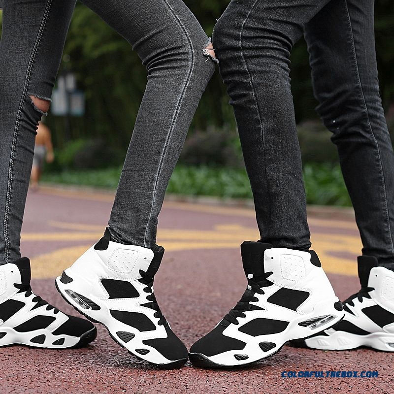 New Black And White Classic Fashion Basketball Shoes Air Cushion Couples Shoes - more images 3
