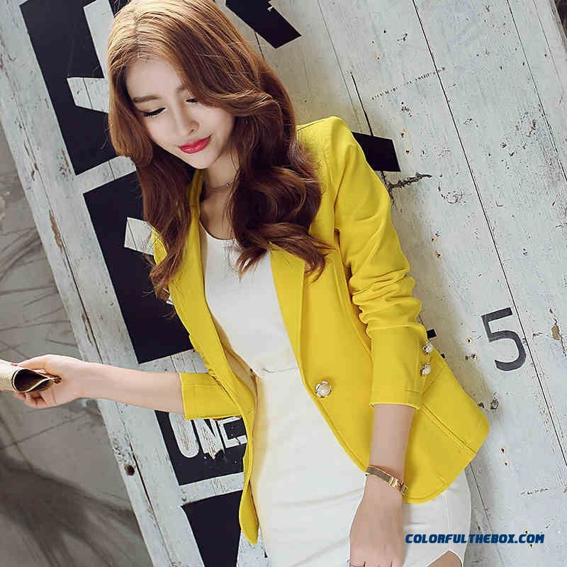 New Blaser Women Blazers And Jackets Small Women Suit Slim (green Yellow Black) Ladies Blazer Feminino Spring Jacket Tops C2340