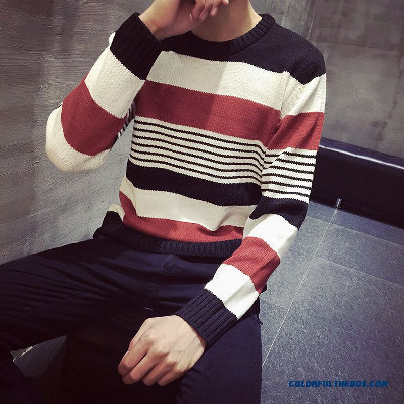 New Bottoming Round Neck Striped Knitwear Slim Pullover Free Shipping