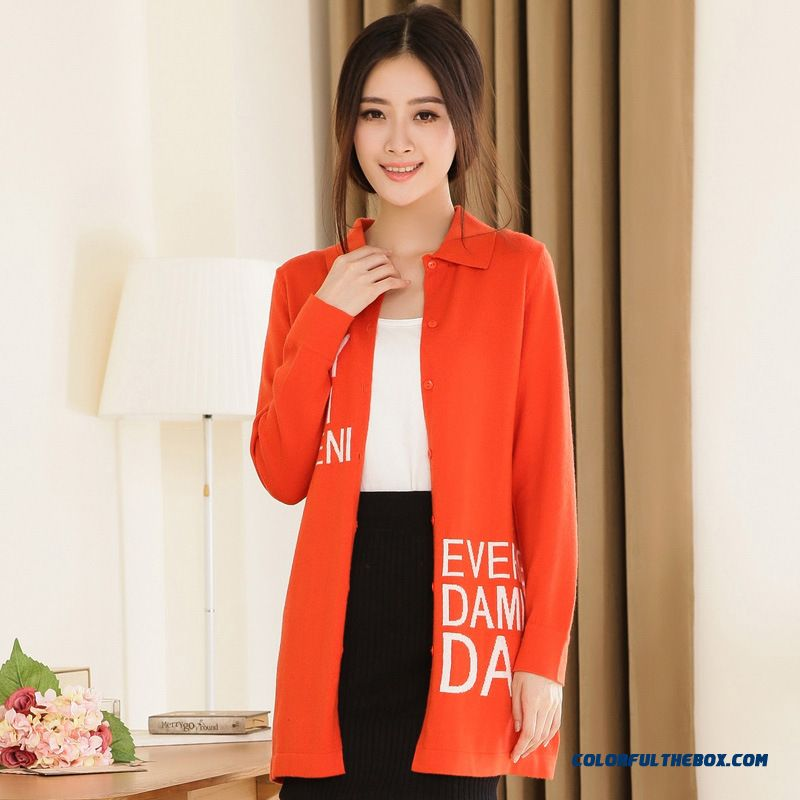 New Boutique Fabrics Slim Temperament Cashmere Coat Medium-long Woolen Coat Women Orange
